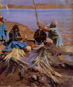 Egyptians Raising Water from the Nile 1890-1891   John Singer Sargent   Oil Painting