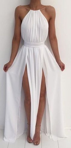 White halter flowy dress maxi with slit