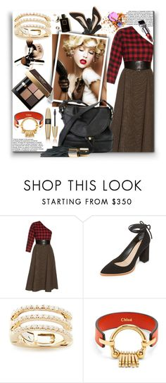 """""""Asymmetric Plaid Midi Dress!!"""" by stylediva20 on Polyvore featuring A.W.A.K.E., Loeffler Randall, EF Collection, Chloé, Bobbi Brown Cosmetics, Victoria's Secret and See by Chloé"""