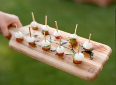 Tomato, mozzarella and basil one bite with balsamic drizzle - appetizers for a Jackson Hole wedding - food by Bistro Catering, photography by Carrie Patterson