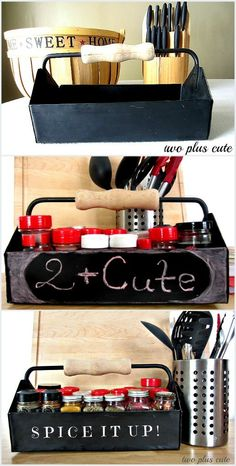 Old toolbox re-purposed as Spice Caddy. Great kitchen organization trick! Love upcycling and now we have all the spices at hand's reach for easy cooking.