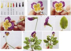 Graphic and detailed tutorial on how to sculpt from polymer clay beautiful flowers pansies.