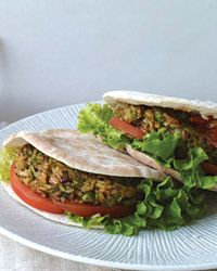 Brown-Rice Veggie Burgers  Sound yummy with chipotle in adobo, poliano chile, frozen peas and pumpkin seeds
