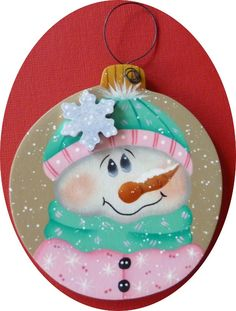 Ornament Snowman Lady Snowflake Christmas Decor Hand Painted Wood Pink. $8.00, via Etsy.