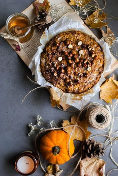 Fit pumpkin pie with tea icing and nuts in honey - Daily Good Pin Healthy Deserts, Healthy Sweets, Sweet Recipes, Cake Recipes, My Favorite Food, Favorite Recipes, Tapas, Cooking Recipes, Cooking Ideas