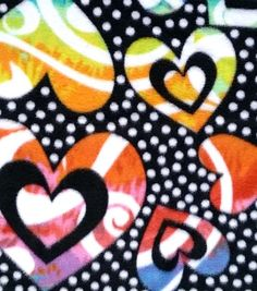 Item # 13631676 Anti-Pill Fleece Fabric Rainbow Dotted Hearts