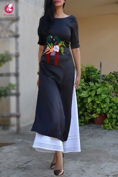 Best 12 Buy Black Satin Embroidered Kurti Online in India Simple Kurti Designs, Kurta Designs Women, Kurti Neck Designs, Dress Neck Designs, Kurti Designs Party Wear, Blouse Designs, Kurti Sleeves Design, Dress Indian Style, Indian Dresses