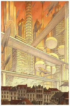 François Schuiten via Zothique The Last Continent, retro-futurism, future city, retro, sci-fi, retro-futuristic city, science fiction