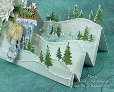 My paper land: Winter landscape Die Cut Christmas Cards, Christmas Card Crafts, 3d Christmas, Xmas Cards, Fun Fold Cards, Pop Up Cards, Folded Cards, Side Step Card, Marianne Design Cards