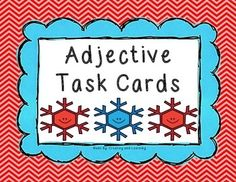Winter themed Adjective Task Cards (24 cards included)