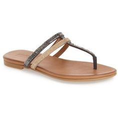Kenneth Cole Reaction Bavette Embellished Flip Flop ($50) ❤ liked on Polyvore featuring shoes, sandals, flip flops, strappy flat sandals, strappy flip flops, kenneth cole reaction shoes, flat sandals and slip on shoes