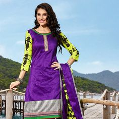 Purple Art Silk Churidar Kameez