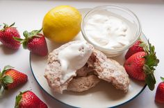 Perfect tea party food:  strawberry lemon scones with homemade clotted cream