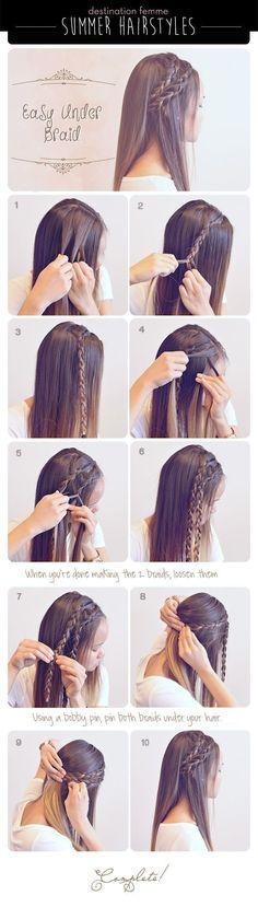 cool Summer Braid Hairstyle For Summer summer long hair braids diy hair hair tutorial hairstyles hair tutorials easy hairstyles