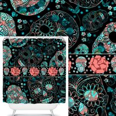Items Similar To Sugar Skull Shower Curtain Fantastic Teal And Coral On Black Etsy