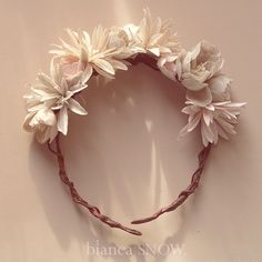 handmade linen floral crown. by Bianca Snow. IF ONLY I'D SEEN THIS SOONER! Def would have ordered.
