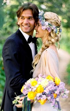 Bride's side braid bridal hair Toni Kami Wedding Hairstyles ♥ ❷ Wedding hairstyle ideas with flower crown corona halo Wedding photography moment with the groom