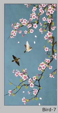Online Shop custom size window film for glass door wardrobe home decor Opaque frosted static cling Birds Cherry Blossom Painting, Acrylic Painting Flowers, Acrylic Painting For Beginners, Wall Painting Decor, Diy Painting, Encaustic Painting, Art Floral, Bird Art, Flower Art