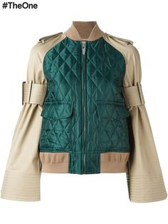 Pin for Later: You'll Be Seeing These Sleeves Everywhere Come Autumn Sacai Military Bomber Jacket Sacai Military Bomber Jacket Military Bomber Jacket, Girls Bomber Jacket, Green Bomber Jacket, Military Style Jackets, Sports Jacket, Bomber Jackets, Janoski Nike, Jackets For Women, Clothes For Women
