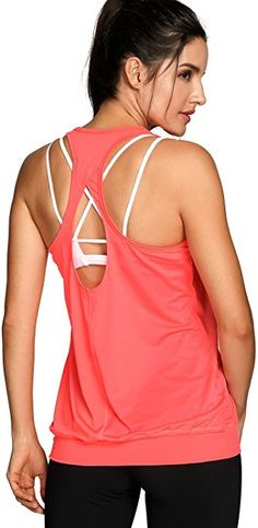 ee4d9666f81 SYROKAN Women s Workout Yoga Fitness Sports Racer Back Running Tank Tops  Orange M at Amazon Women s Clothing store