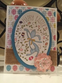 Happy Easter Bunny by Alesha Gripp;  Happy Easter bunny stamp set Birds of a feather dsp Marina mist cs Stampin blendability markers Burlap ribbon Vintage faceted designer buttons Linen thread Oval framelits Square lattice folder