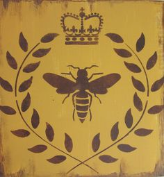 French sign Crown Bee and Laurel wreath gold by KIMPETERSONART, $30.00