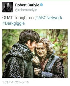 Robert mistake about tonight's episode.. he apologize 2 minutes later! Love the picture and hook's smile! #OnceUponATime #ouat #DarkHook