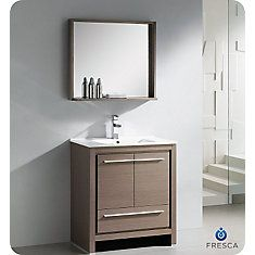 Allier 30 Inch Gray Oak Modern Bathroom Vanity With Mirror