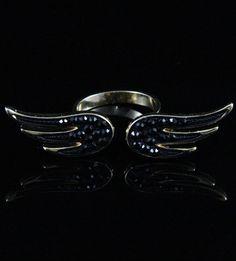 Anel asas preto dourado  La Ditta www.laditta.com.br
