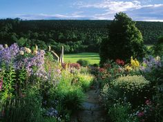 The garden of Sleighthomedale Lodge stands on the edge of England's Yorkshire moors, and has been tended by the same family for three generations. The borders are overflowing with cottage garden favorites, such as poppies and foxgloves. @2011 Dorling Kindersley Ltd