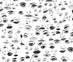 Watercolor handdrawn pattern of black and white ladies faces in a fashion illustration style. - buy this pattern in fabric by the yard at Spoonflower.com - by artist msjordankay