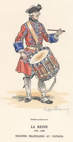 French Army in Canada; Infantry Regiment La Reine, Drummer in grand tenue. 1755-60