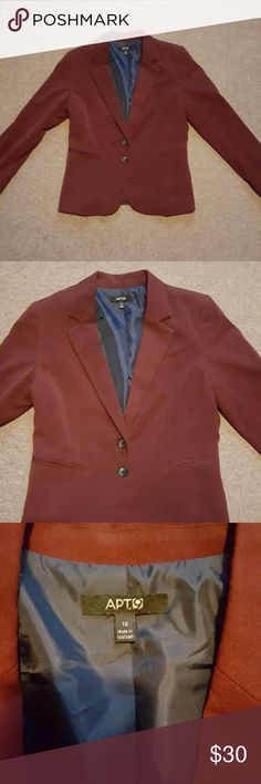 Burgundy Blazer Excellent condition, only worn once. Apt. 9 Jackets & Coats
