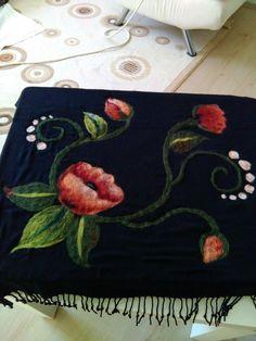 Felt Crafts, Diy And Crafts, Ribon Embroidery, Dress Neck Designs, Felt Flowers, Needle Felting, Wool Felt, Shawl, Upcycle