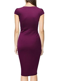 98fdb0fd2c Miusol Women s Classicial V Neck Retro Business Bodycon Pencil Dress