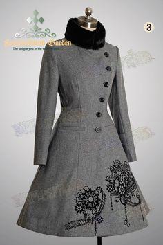 "fanplusfriend - ""Next Station"" Steampunk Bias Front Mandarin Collar Warm Wool Coat*4color, $175.10 (http://www.fanplusfriend.com/next-station-steampunk-bias-front-mandarin-collar-warm-wool-coat-4color/)"
