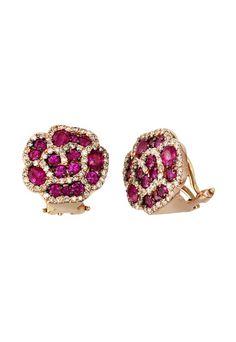 Effy 14K Rose Gold Ruby and Diamond Flower Earrings, 3.97 TCW