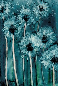 Dandelion Wishes - Floral Abstract Art Watercolour Painting - 8x10 Fine Art Giclee Print. $25.00, via Etsy.