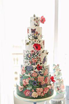 hand-painted flower wedding cake