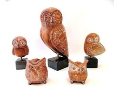Five Ancient Greek Terracotta Owls, Ceramic Owls ,Hand made owls, Greek owls , Graduation gift