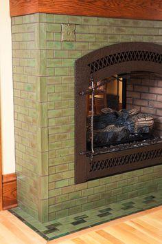 Batchelder tile fireplace designy craftsman love for Arts and crafts tile fireplace