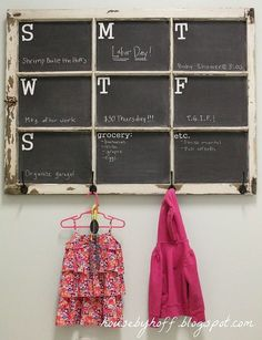 Window Conversion - apply chalkboard paint to create a calendar/message center - the addition of hardware on the bottom of the frame makes it perfect for a mudroom/backdoor/studio location.