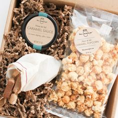 Ultimate Caramel Gift | $26. Fleur de Sel caramels, caramel sauce and caramel popcorn all in one gift box! Available at: manykitchens.com