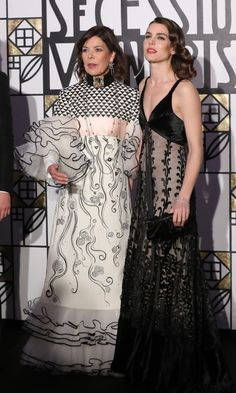 Princess Caroline of Monaco and her daughter, Charlotte Casiraghi, brought black and white glam to the annual Rose Ball at the Monte-Carlo Sporting Club in Monaco. Caroline looked happy as a proud grandmother, while Charlotte seemed to channel the glamour of her own grandmother, Grace Kelly, in a retro look.