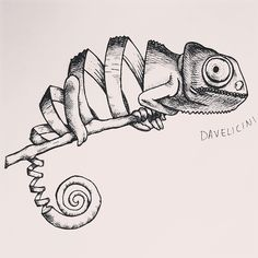 daveliciniart chamaleon tattoo by Daveliciniart on DeviantArt Tattoo Sketches, Art Sketches, Ink Illustrations, Illustration Art, Animal Drawings, Pencil Drawings, Geometric Owl Tattoo, Art Lesson Plans, Lizards
