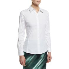 Lafayette 148 New York Merite Long-Sleeve Blouse ($160) ❤ liked on Polyvore featuring tops, blouses, white, stretchy tops, white blouse, long sleeve blouse, lafayette 148 new york and stretch blouse