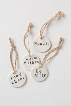 Wishful Ceramic Gift Tag Set at Anthropologie Clay Christmas Decorations, Diy Christmas Ornaments, Christmas Wrapping, Christmas Projects, Handmade Christmas, Holiday Crafts, Noel Christmas, Simple Christmas, Winter Christmas