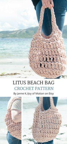 The Litus Beach Bag crochet pattern design is a easy & quick summer crochet pattern. Crochet Beach Bags, Love Crochet, Knit Crochet, Crochet Bags, Ravelry Crochet, Crochet Summer, Mochila Crochet, Simple Bags, Easy Bag