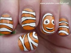 http://www.facebook.com/Juliatmll    Some easy, cute and simple clownfish nail art! Hope you all enjoy it!