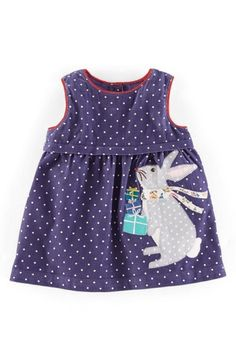 Mini Boden 'Pinnie' Appliqué Corduroy Pinafore Dress (Baby Girls)